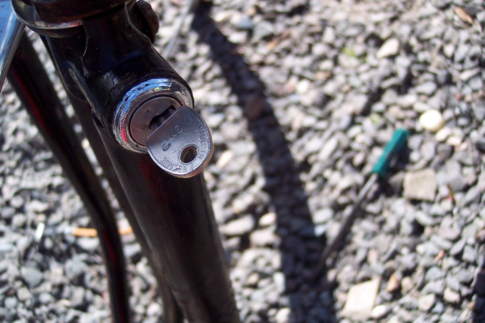 Raleigh steering lock with key inserted